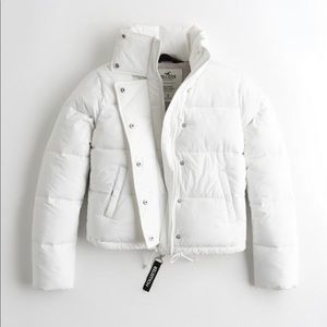 Women's White Mock Neck Puffer Jacket Hollister